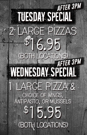 NJ Pizza Tuesday and Wednesday Specials Ridgewood and Garfield NJ